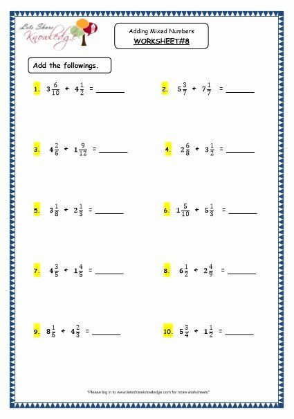Add Mixed Numbers Worksheet