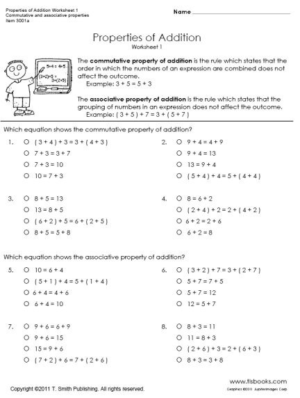 Addition and Multiplication Properties Worksheets