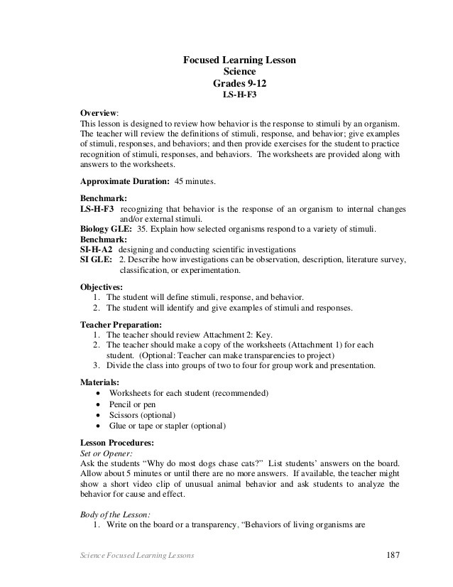 Stimulus And Response Worksheet With Answers Science Changes