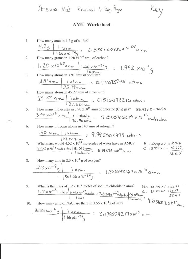 Avogadro Number Worksheet Answers
