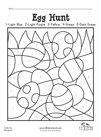 Easter Egg Hunt Color by Numbers