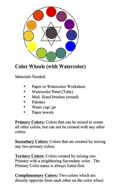 Color Wheel Worksheets for Elementary