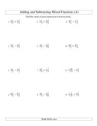 Comparing Mixed Numbers Worksheet