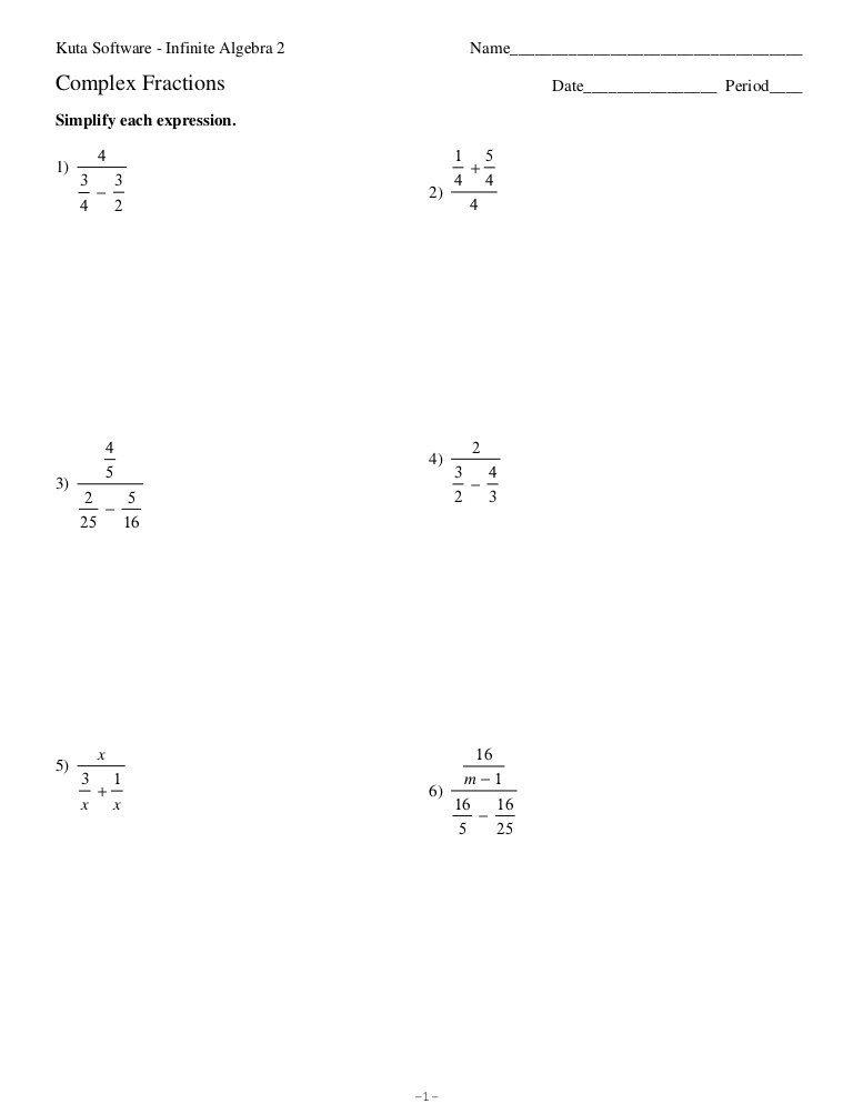 Complex Number Worksheet with Answers