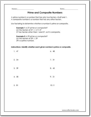 Composite and Prime Numbers Worksheet