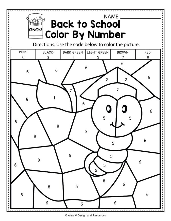 Fall Color by Numbers Worksheets