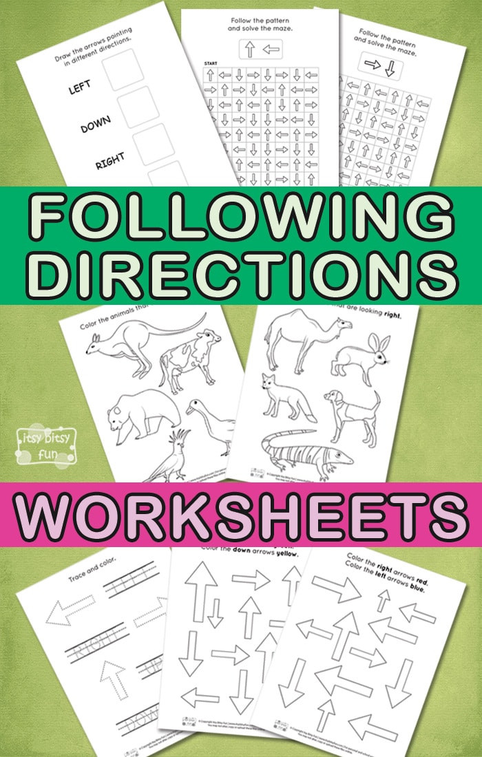 Follow Directions Coloring Worksheet