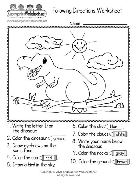 Following Directions Coloring Worksheet