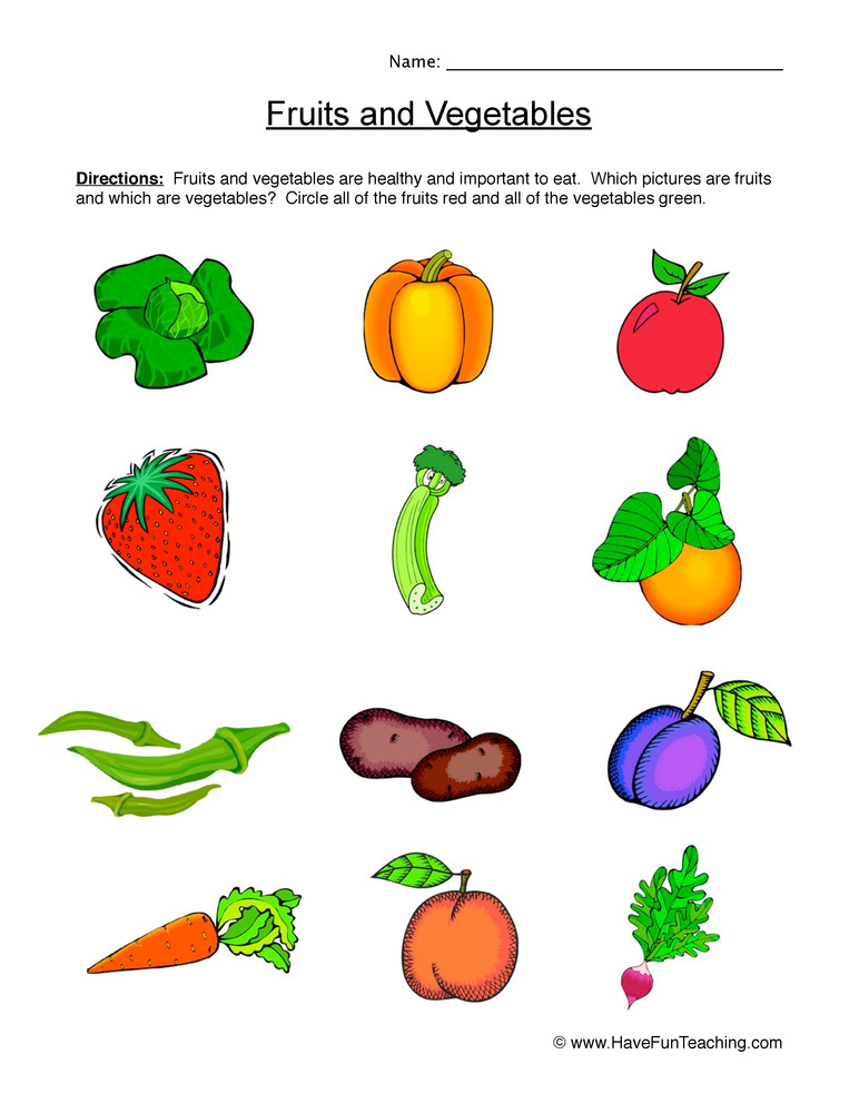 Fruits and Ve ables Worksheet