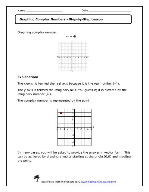 Graphing plex Numbers Lesson Math Worksheets Land