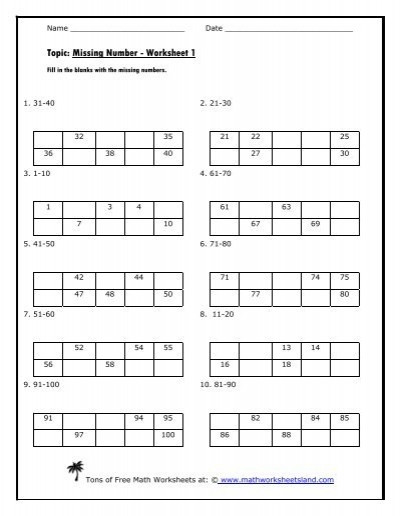 Missing Numbers Addition Worksheets