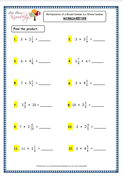 Multiples Of whole Numbers Worksheets