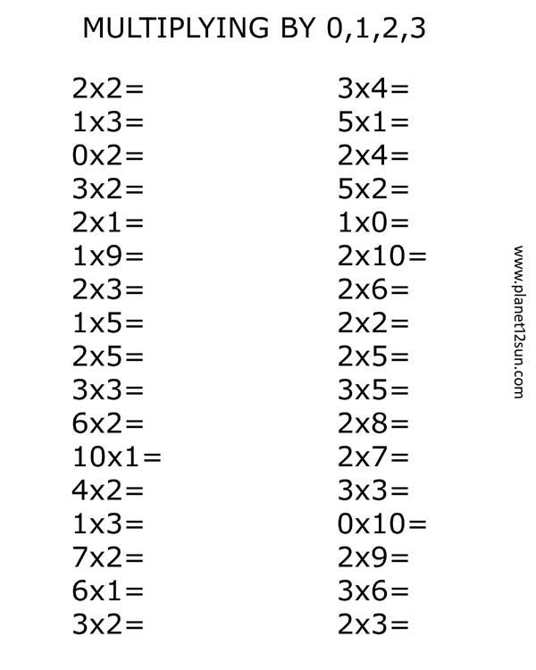 Multiply by 0 Worksheets