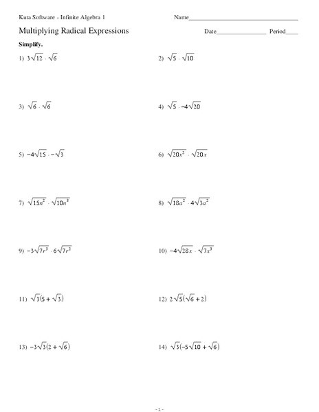 Multiply Radical Expressions Worksheet Promotiontablecovers