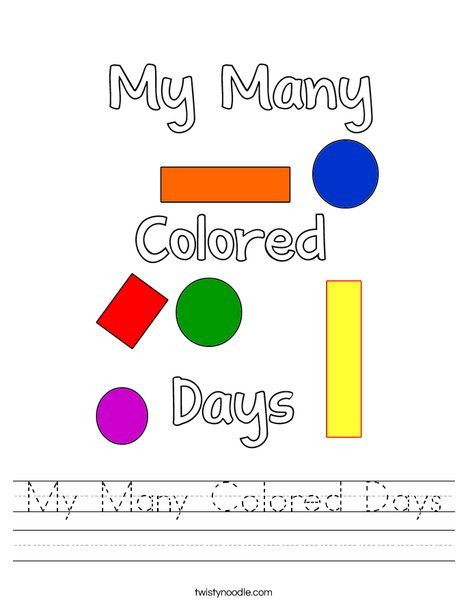 My Many Colored Days Worksheet Twisty Noodle