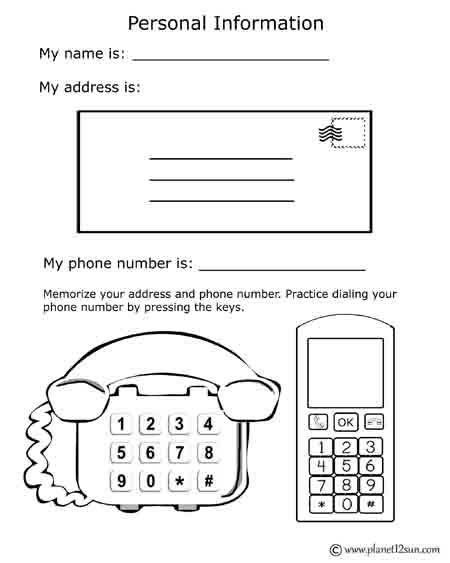 Address Phone Number Learning planet12sun PRINTABLES