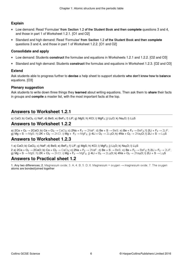 Periodic Table Worksheet 1 Answers