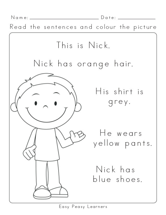 Read and Color Worksheets