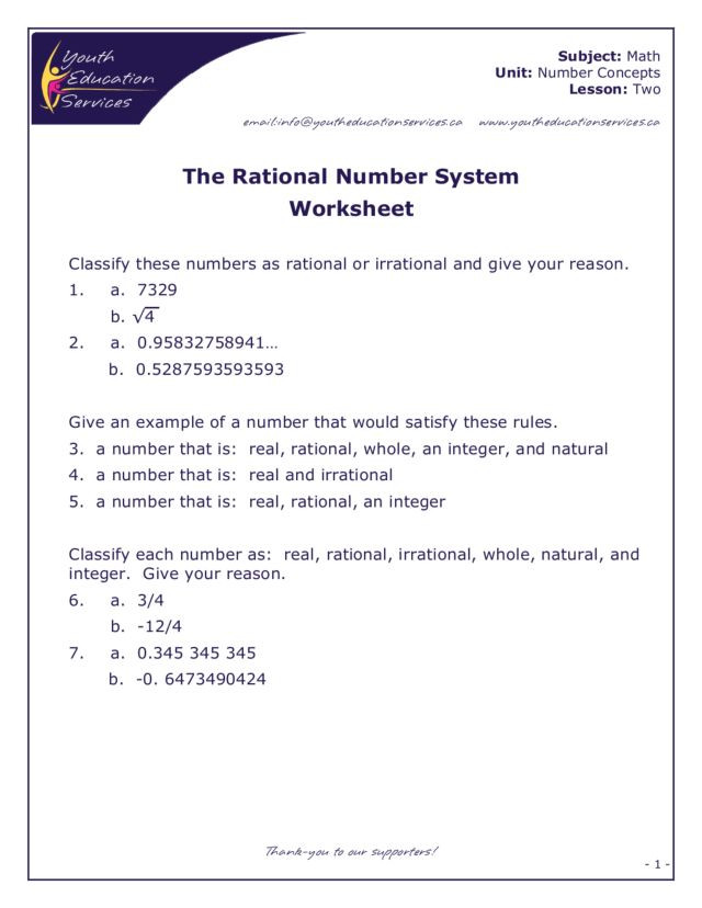 Real Number System Worksheet Answers