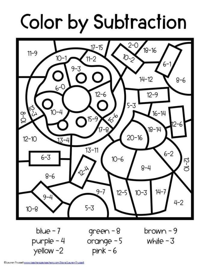 Subtraction Worksheets First Grade Math Color By Number