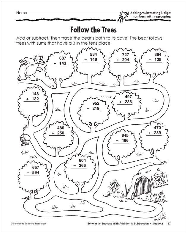 3 Digit Subtraction with Regrouping Coloring Sheet