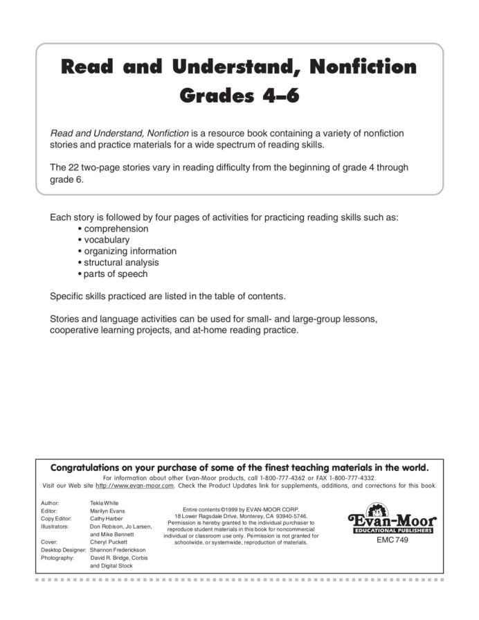 Table Of Contents Worksheets