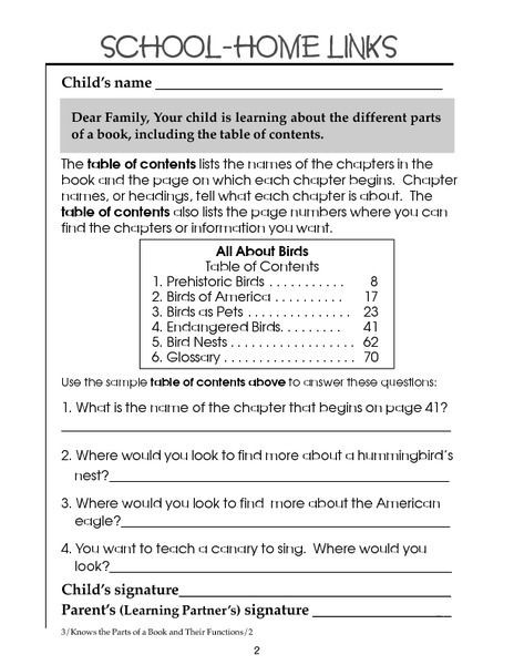 Table Contents 2nd 3rd Grade Worksheet Lesson Pla