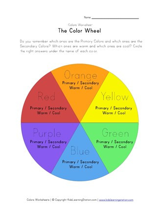 Warm and Cool Color Worksheet