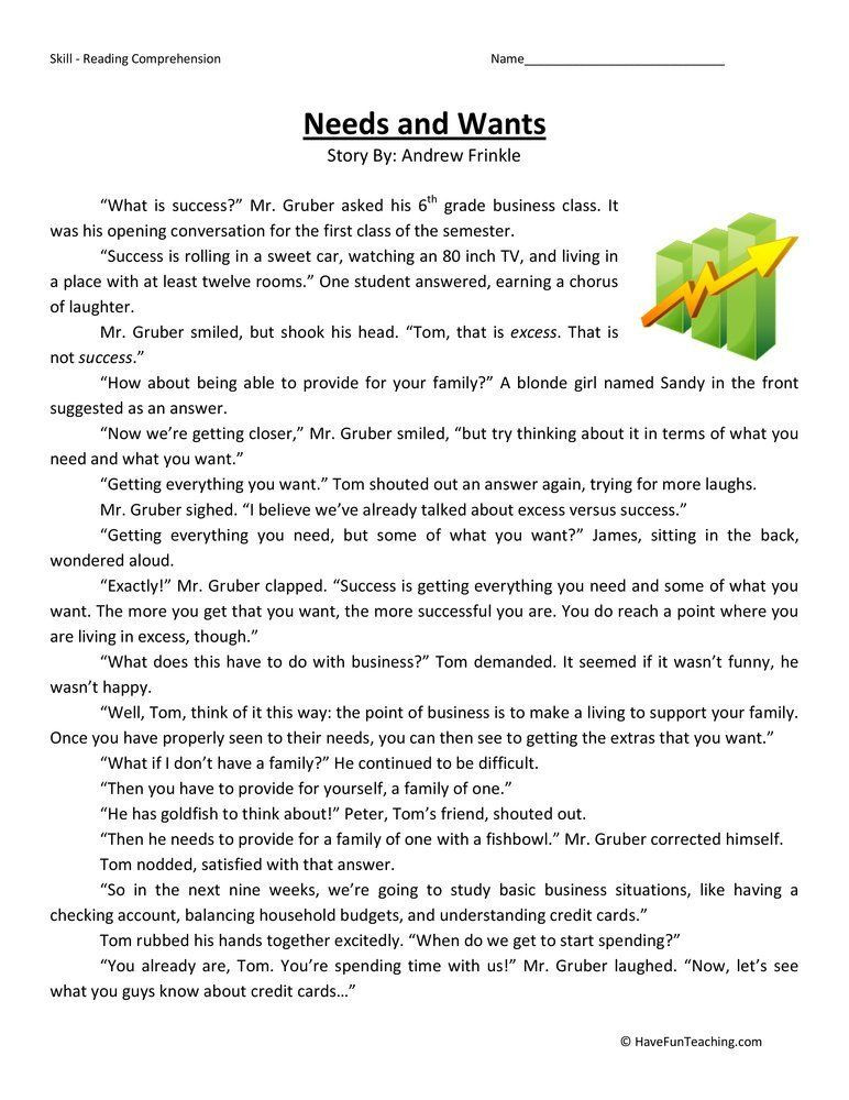 5th Grade Economics Worksheet Needs and Wants Reading