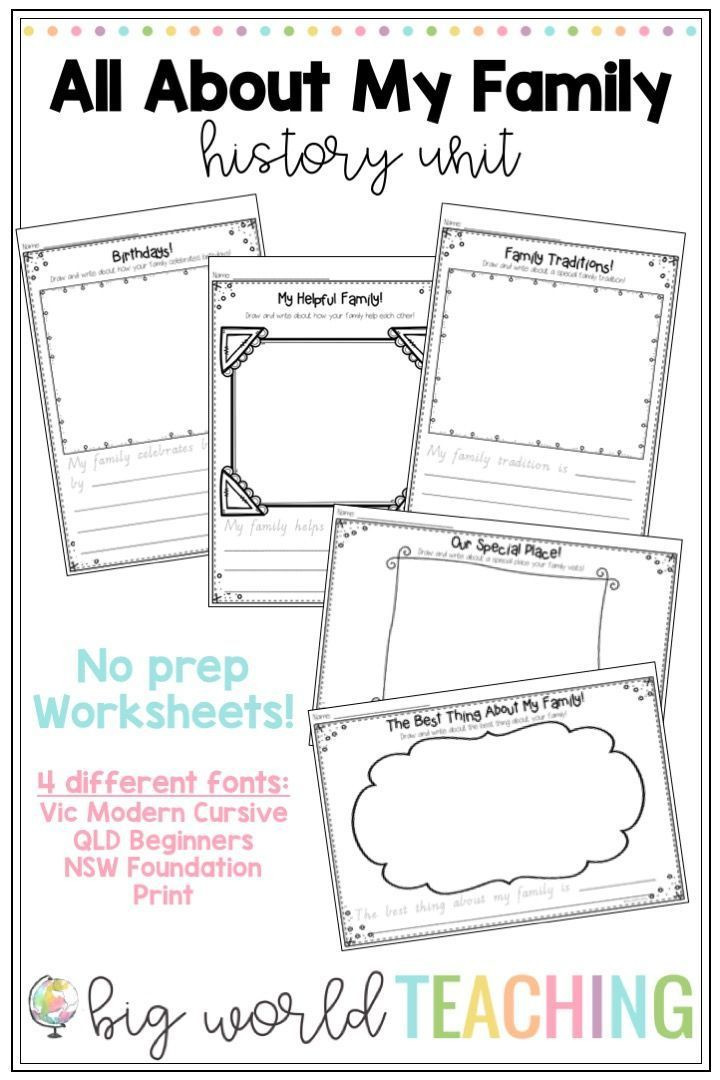 All About My Family Unit Worksheets & Family Tree Pack in