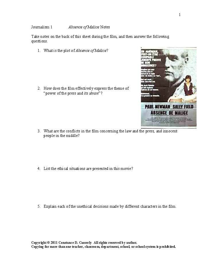 Get worksheets for the following movies Absence of Malice