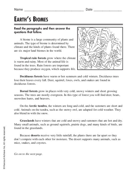 Earth s Biomes Worksheet for 3rd 5th Grade