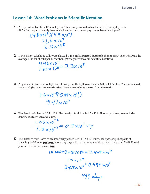 E 1 lesson 14 word problems with scientific notation