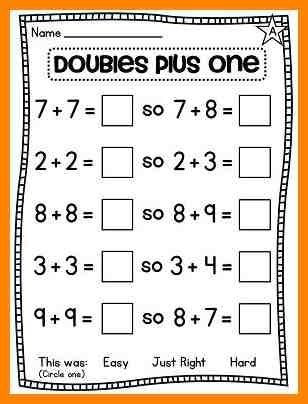 Math worksheets on doubles plus one