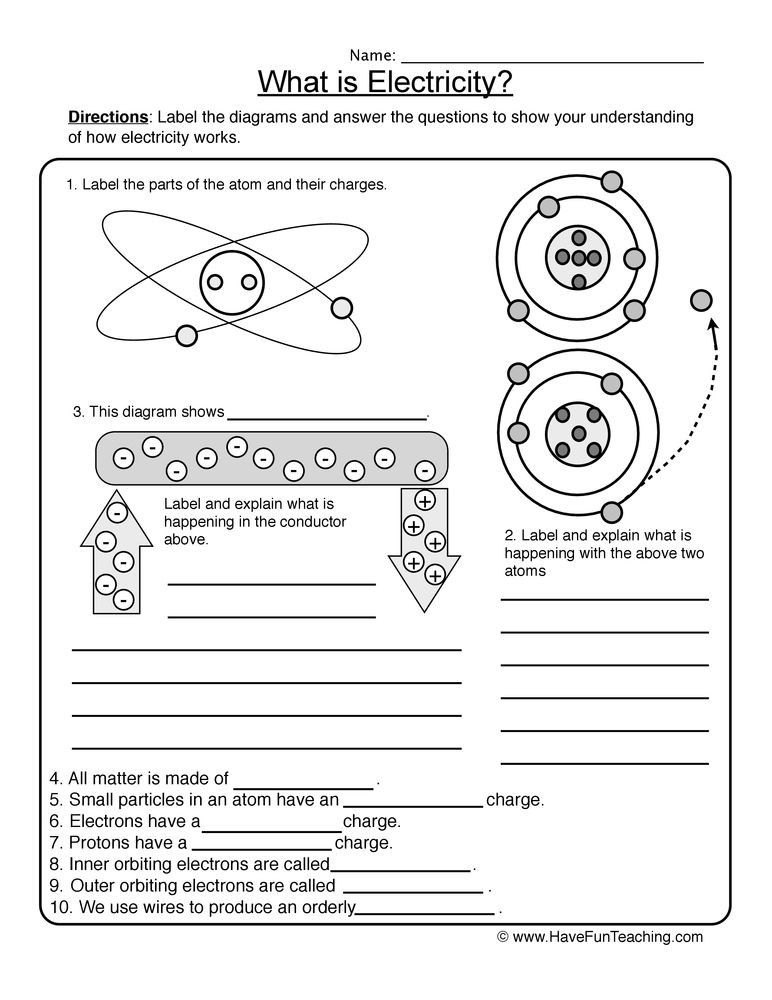 Electricity Worksheet in 2020