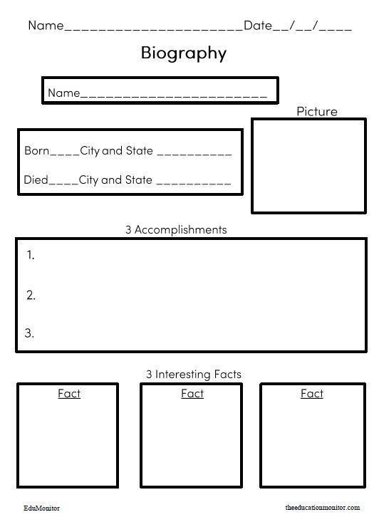 Elements Of A Biography Worksheet