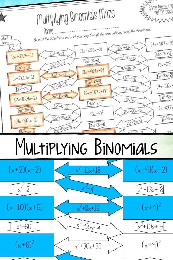 This multiplying binomials with FOIL maze worksheet was the
