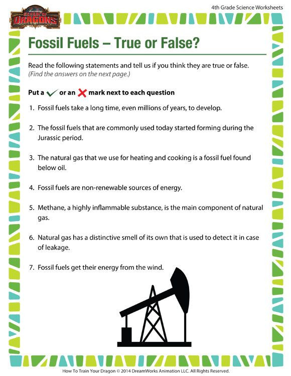 Fossil Fuels – True or False View – Free Science Worksheet