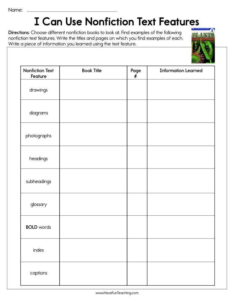 Free Text Features Worksheets