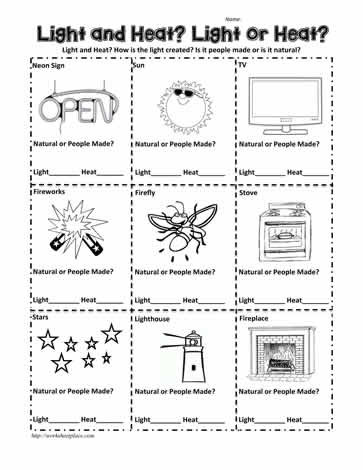 Light and Heat Energy Worksheets