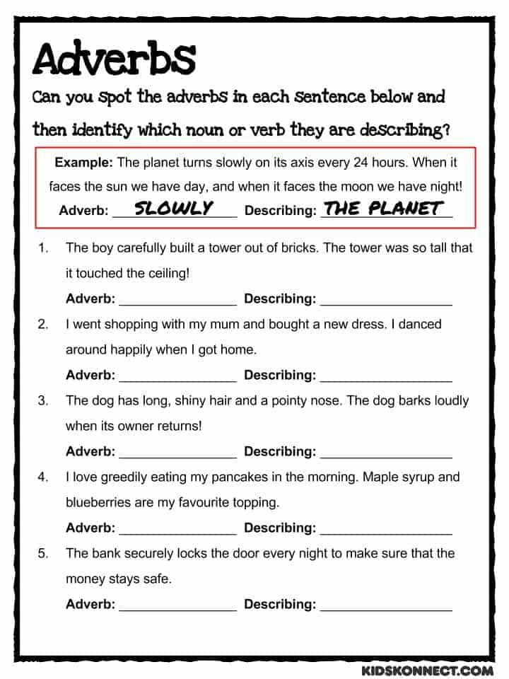 Identifying Nouns and Verbs Worksheet