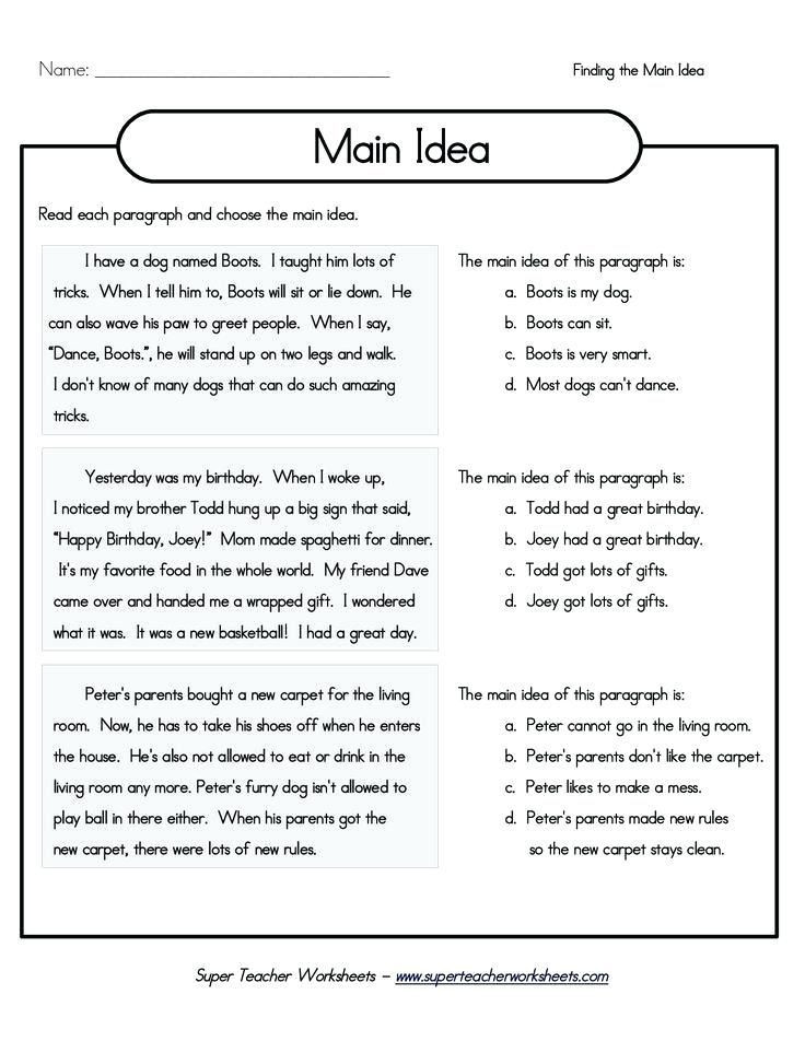 27 Main Idea and Supporting Details Worksheets Pdf