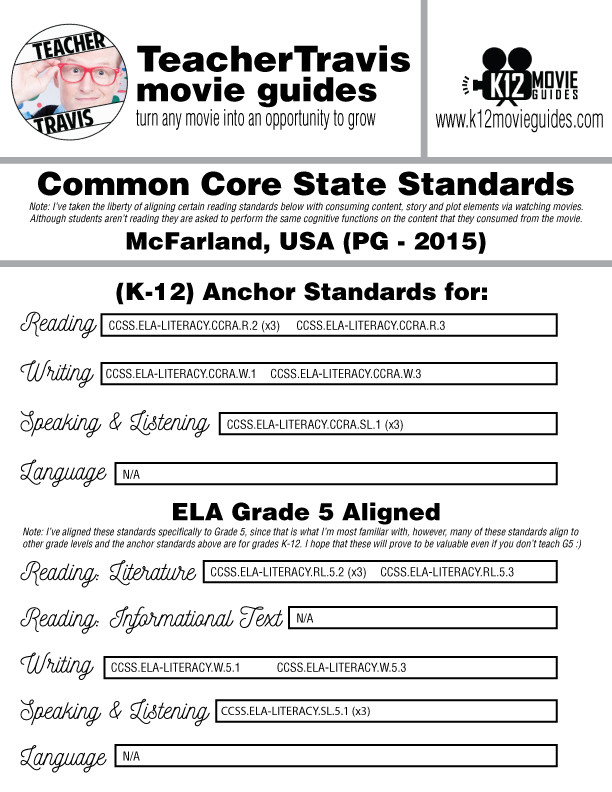 McFarland USA Movie Guide Questions Worksheet