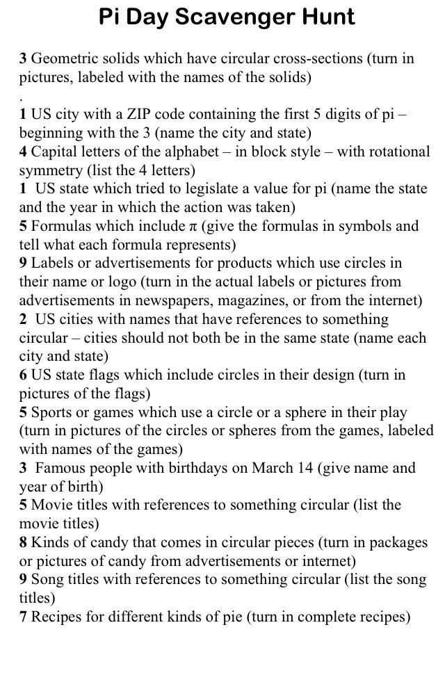 Pi Day Scavenger Hunt a little something to make your