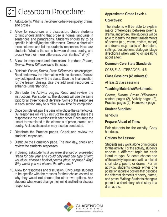 Poetry Prose and Drama Worksheets