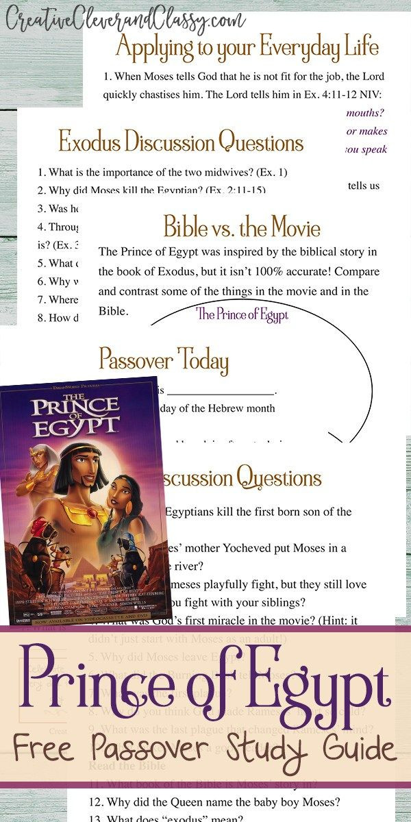 The Prince of Egypt Study Guide and Discussion Questions
