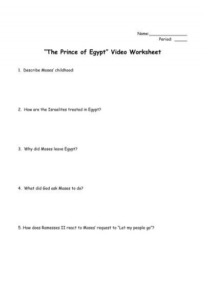 """The Prince of Egypt"""" Video Worksheet"""
