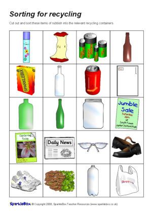 Recycling Worksheets for Kids