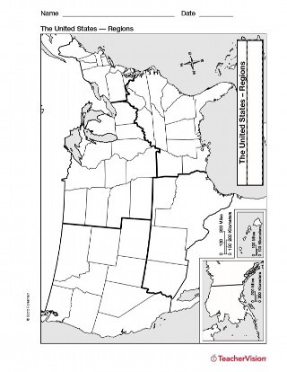Map of U S Regions Geography Printable 1st 8th Grade