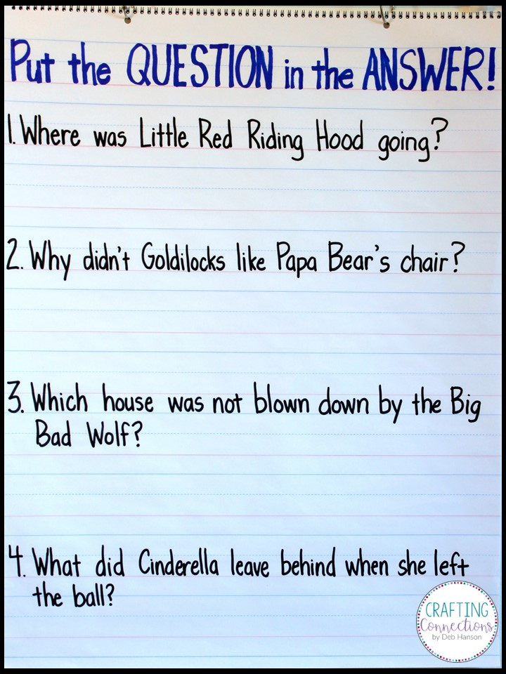 Restating the Question in the Answer Freebie included